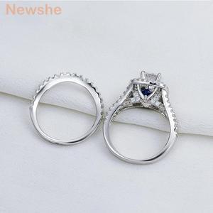 Image 5 - Newshe 2 Pcs Solide 925 Sterling Silber frauen Hochzeit Ring Sets Viktorianischen Stil Blau Seite Steine Klassische Schmuck Für frauen