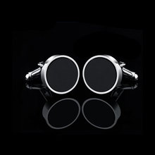 Round Black Shiny Cufflinks Trendy Simple Style Gemelos Sleeve Button High-quality Hot Selling Sopper Cuff Links Free Shipping