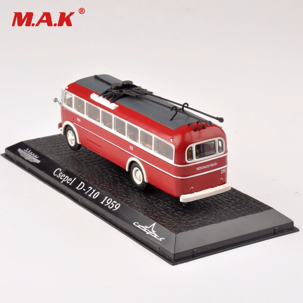 Collectible Train Model Toys Atlas 1:72 Scale Diecast Red Csepel D 710 1959 Bus Car Model Toy Gift for Children Boys Gift