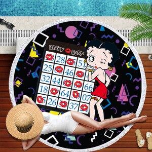 Image 2 - Betty boop okrągły ręcznik plażowy dla dorosłych piękne ręczniki z mikrofibry Serviette de plage Toalla koc frędzle gobelin mata plażowa