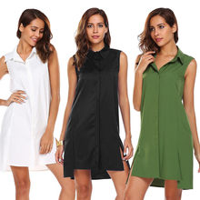 Women's Dress Fashion Summer Casual Button Solid Stand Mini Dress sundress female summer Robe de femme Ladies Dresses(China)