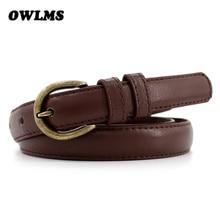 HOT leisure belts dress decorated wild belt brown leathers female pull line simple student thin leather black women cummerbund