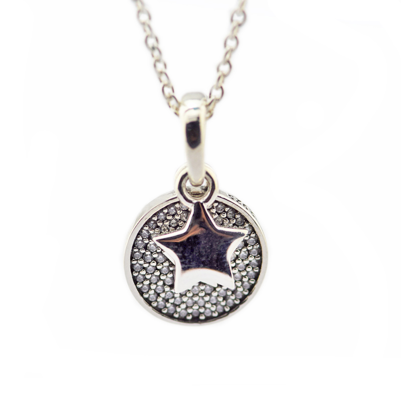 Celebration Stars Necklace 925 Sterling Silver Chain 70CM Pendant Necklaces For Women Collar Mujer Original Jewelry