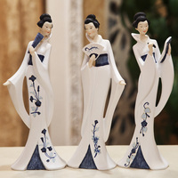 Japanese Style Beautiful Woman Feng Shui Crafts Resin Figurines Decorative Crafts Ornaments Home Decoration Accessories Statue