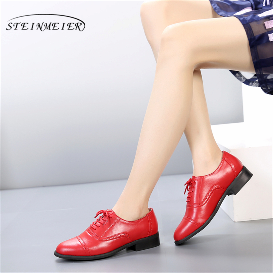 Genuine leather big woman US 11 designer vintage flats shoes round toe handmade red green blue