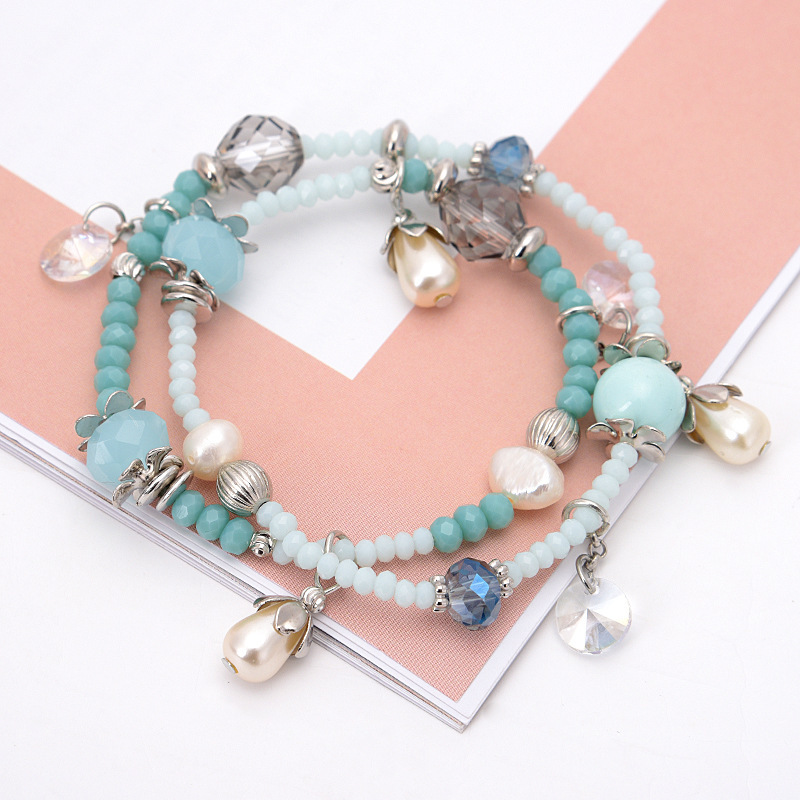 Dupla camada de pérolas de cristal pulseira de miçangas, contas de mão, Bohemian pequeno fresco, senhoras, acessórios de moda jóias por atacado