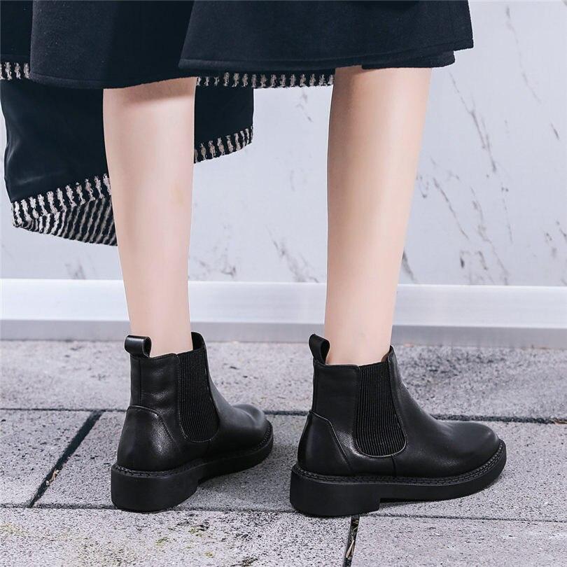 black2 Grey Casuales Zapatos Botas Invierno Dedo Las Mujeres Bajo Negro Redondo Genuino Plataforma Del Tacón Oxfords Chelsea Black1 Nayiduyun Bombas De grey2 Pie Caliente Cuero wnqURXwS1