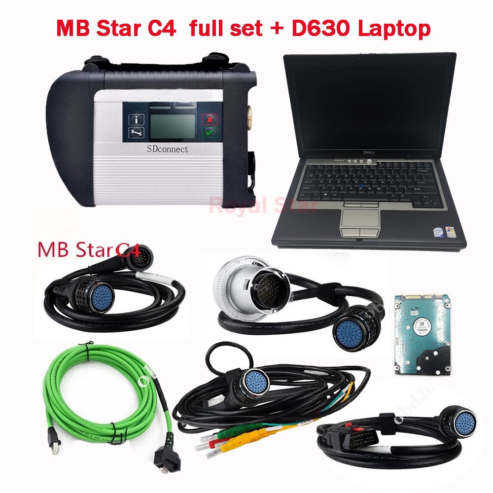 Car Diagnostic Scanner MB STAR C4 with HDD V9.2018 software install compeleted with more function and D630 PC set ready to use