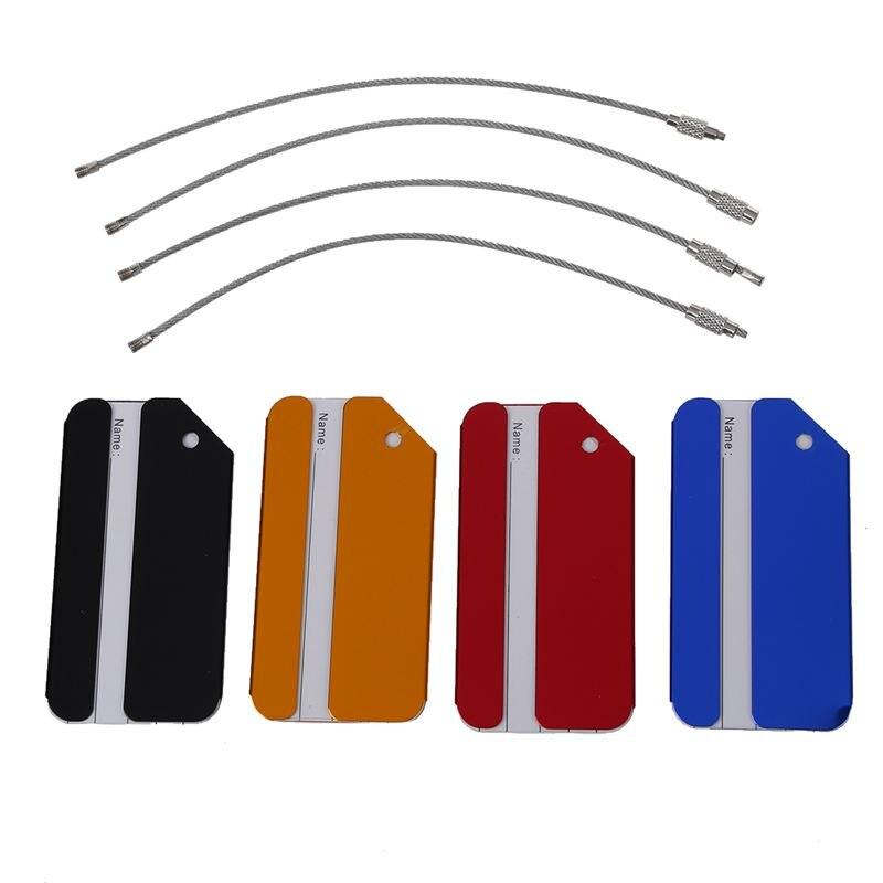 4pcs Aluminium Metal Travel Luggage Baggage Suitcase Address Tags Label Holder