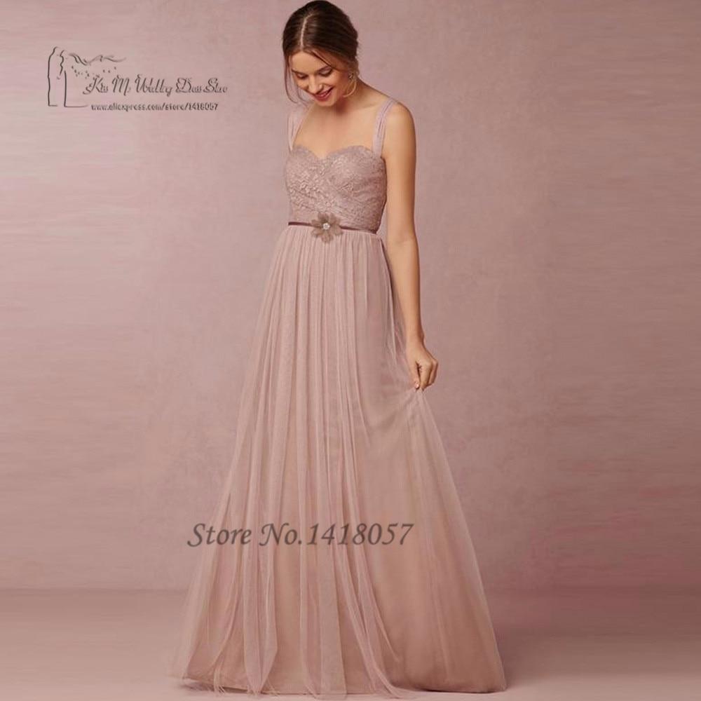 Encaje Antiguo Rosa Vestidos de Dama de Largo Palabra de Longitud ...