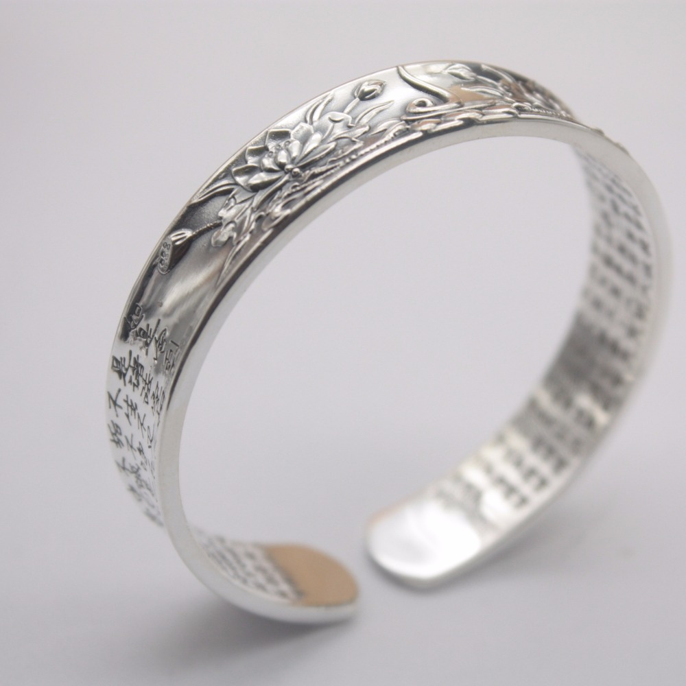 New Arrival Pure S999 Sterling Silver Bracelet Women Lotus Heart Sutra Bangle 35-35.5gNew Arrival Pure S999 Sterling Silver Bracelet Women Lotus Heart Sutra Bangle 35-35.5g