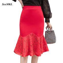 896f20c7a7 SEXMKL Plus Size Lace Patchwork Red Skirt 2019 Elegant Women High Waist  Skirt Korean Ladies Streetwear