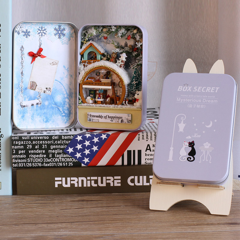 Elegant Box Secret DIY Dollhouse Miniatura With Furniture Bunny Bracket Doll House Handmade Gift Children Snow Holiday T005 #D