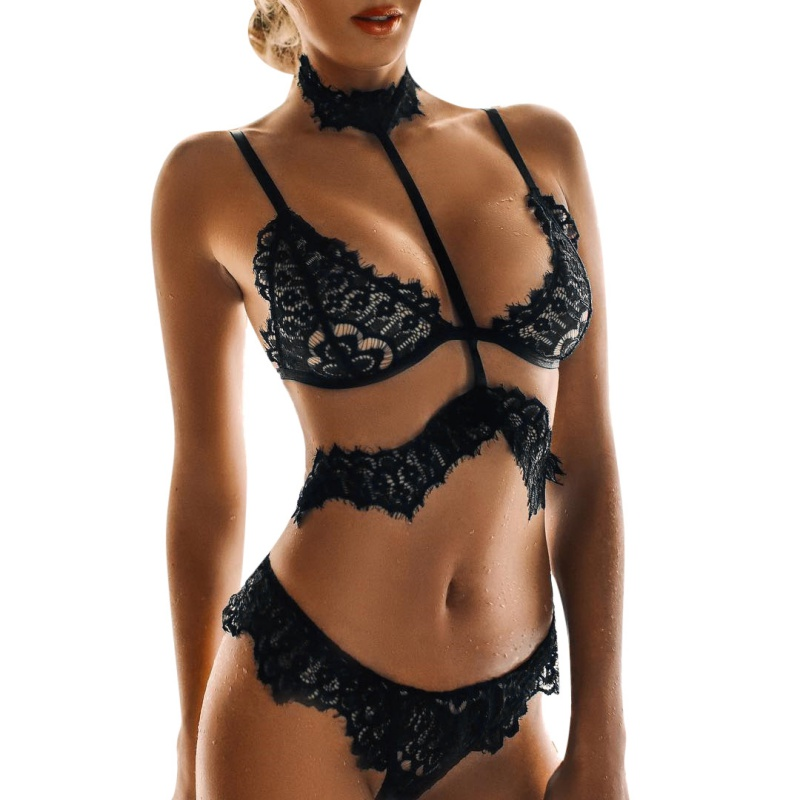 WEIXINBUY New Women Sexy Intimate Underwear Lace   Bra     Sets   Female Sexy Lace   Bra   Panties   Sets   2018 Black Transparent Lingerie   Bra
