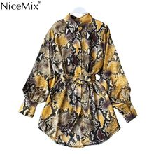 NiceMix Leopard Shirt Dress Long Sleeve new Cardigan Boho Sexy Midi Korean Yellow Plus Size Snake Print Beach Summer Dress Women(China)