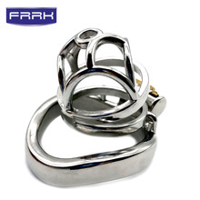 цена на FRRK Pop openwork pattern Chastity Device Stainless Steel Cock Cage Metal Male Chastity Belt Penis Ring Bondage Sex Toys Lock