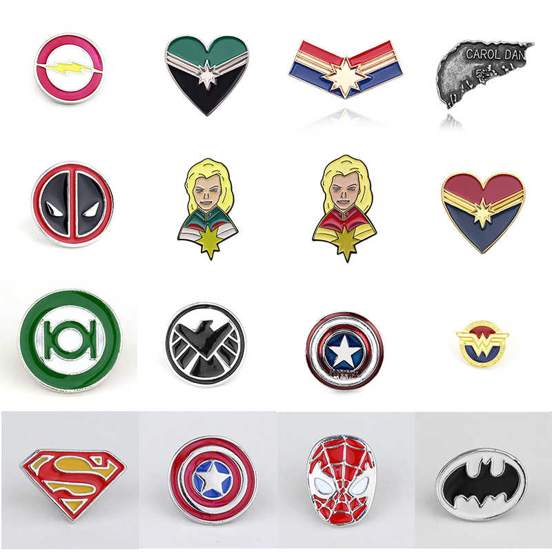 17 Gaya Pin Deadpool Ghostbusters Batman Bros Flash Captain America Superman untuk Pria Lencana Topi Tie Tack Brocade