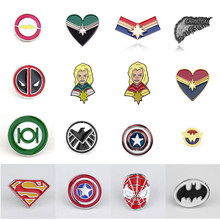 17 Gaya Pin Deadpool Ghostbusters Batman Bros Flash Captain America Superman untuk Pria Lencana Topi Tie Tack Brocade(China)