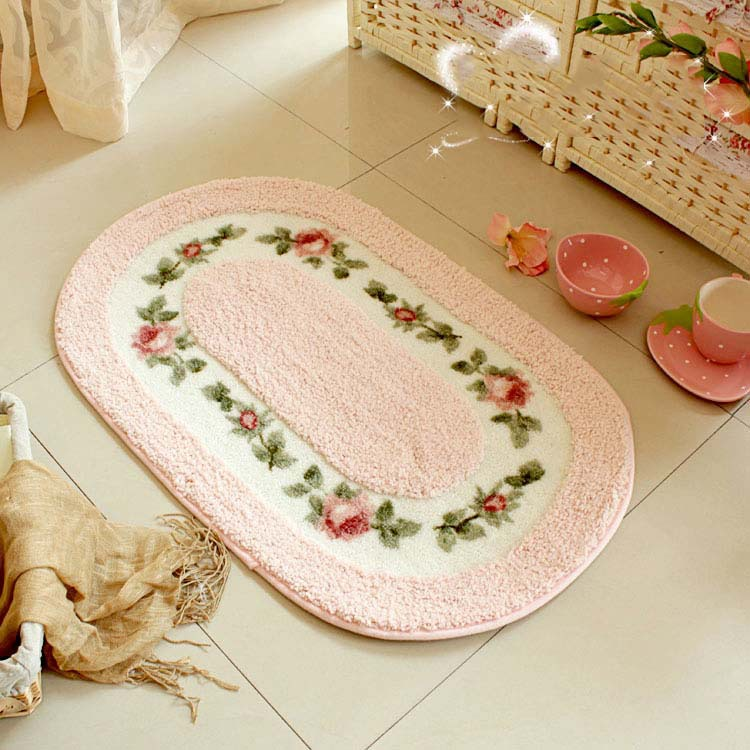 Christmas Oval Pink rose rug living room floor mat bedroom area ...