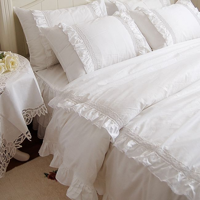 Romantic White Double Ruffle Lace Bedding Sets Duvet Cover
