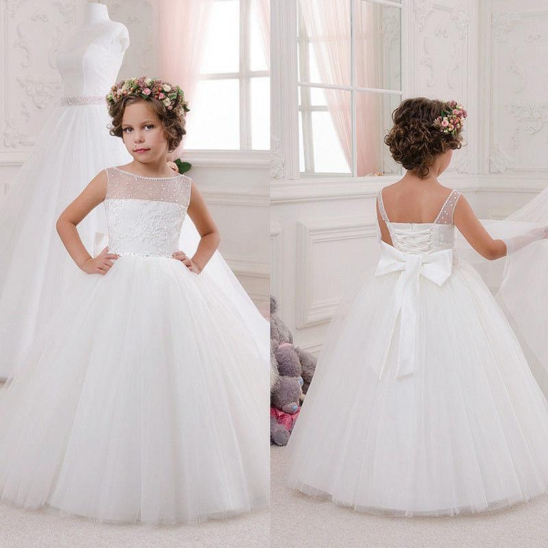 Wedding Party Flower Girl Dresses Communion Party Prom Princess Pageant Dress