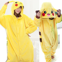 Family Matching Outfit Pikachu Overalls Jumpsuit Flannel Adult Children Cosplay Costume Kigurumi Onesie Blanket Sleepers Yellow