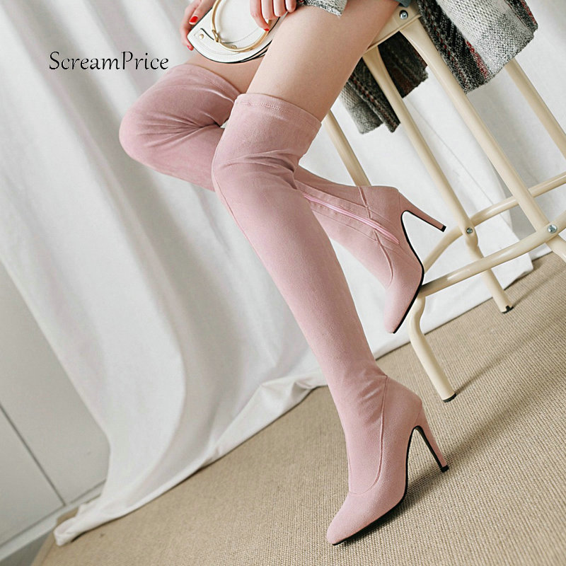 Female Faux Suede Sexy Thin High Heel Over the Knee Boots Fashion Zipper Pointed Toe Women Fall Winter Thigh Boots Black Gray pointed toe over the knee long boots apricot black gray faux suede thin high heel long boots sexy stretch fabric lady sock boots