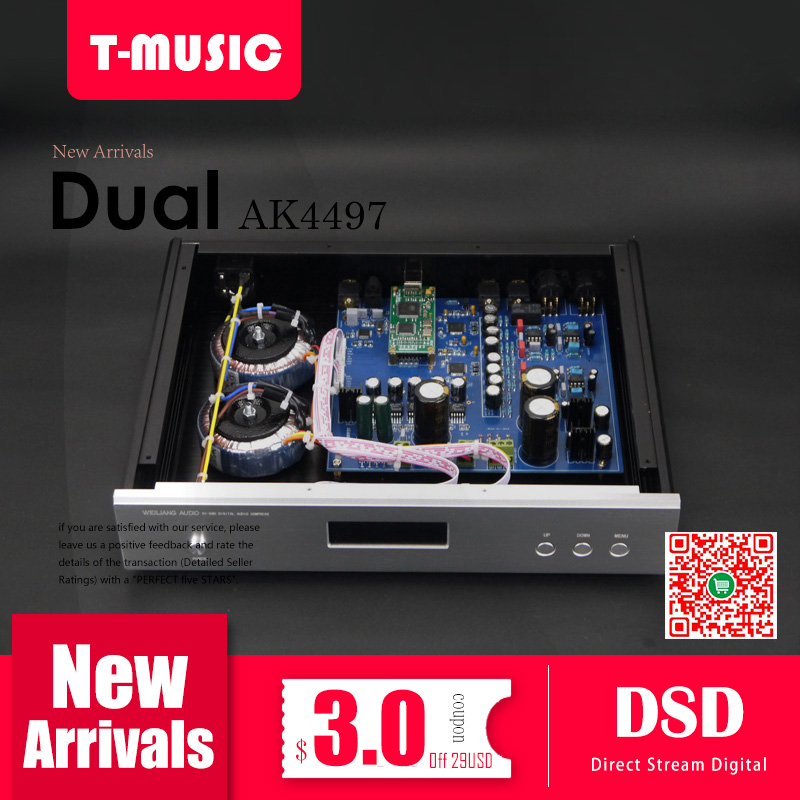 US $268 99 |High end Dual AK4497 DAC Decoder W/ 2x Toroidal transformer  Support XMOS / Amanero I2S DSD ,Better than ES9038 ES9038PRO DAC-in