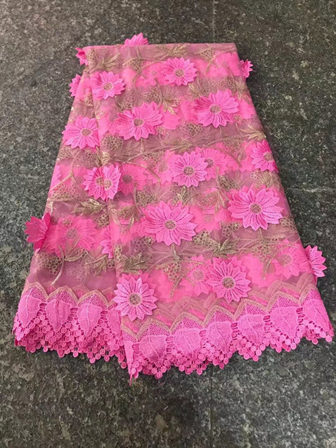 Promotion price Africa lace fabric quality Gold wire 3D Flowers ...