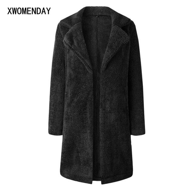 5c9c7bfdddb65 Women Autumn Warm Long Fleece Jacket Coats 2018 Winter Fashion Faux Fur  Cardigan Ladies Jackets Black Plus Size Outerwear Coat