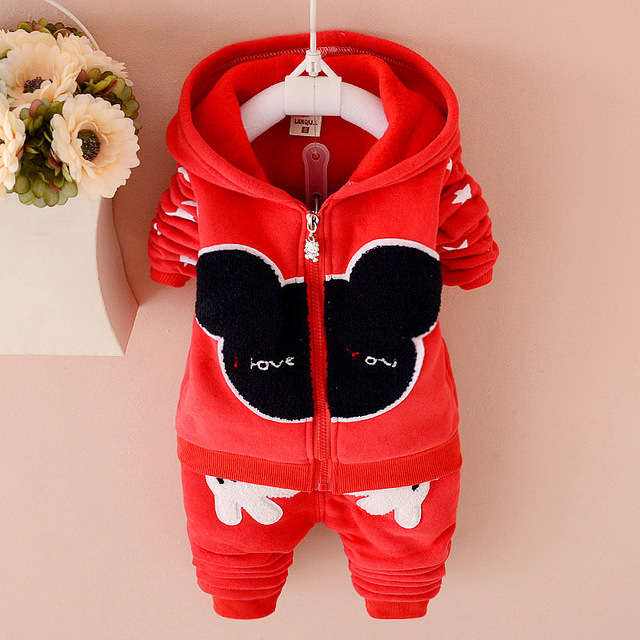 In The Winter Of 2016 The New Children's Cartoon  Upset Warm Coral Fleece Suit Children's Clothes Free Shipping