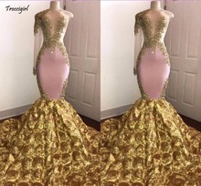 African Pink Mermaid Prom Dress 2019 Sexy Gold Appliqued Evening Formal Party Gown Pageant Dresses Long Sleeve Sweep Train