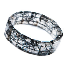 купить Genuine Black Natural Rutilated Quartz Bracelets For Women Men Stretch Crystal Rectangle Bead Bracelet по цене 9273.38 рублей