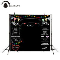 Allenjoy Photography Backdrops Wedding Backdrop Blackboard Colorful Flags Banners Love Happy Wedding Custom Photocall A Photo
