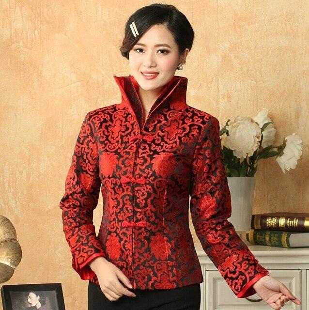 US $46.0 |Holiday Sale Bourgondië Lady Zijde Satijn Jas Chinese Knop Jas Tang Pak Bloemen Jas Dropshipping SML XL XXL XXXL NJ102 in Holiday Sale