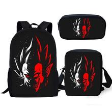 Thikin Dragon Ball School Bags for Kids Boys 3pcs Cool Backpack School Supplies for Teens  Pen Purse Pencil Case цена