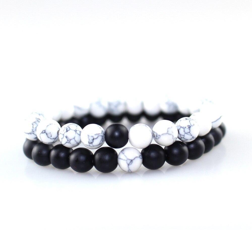 2Pcs/Set Couples Distance Female Bracelet Classic Natural Stone White Black Yin Yang Beaded Bracelets For Men Women Best Friend