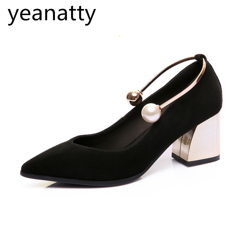 5cm Elegant Style Shoes Women spring autumn vintage ladies Real Leather pointed Toe pumps Med Heels thick heel tide Shoes 43