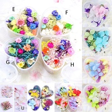 цены 1 Box Mixed Dried Flowers Nail Art DIY Preserved Flower With Heart-Shaped Box Glass Bottle Decoration