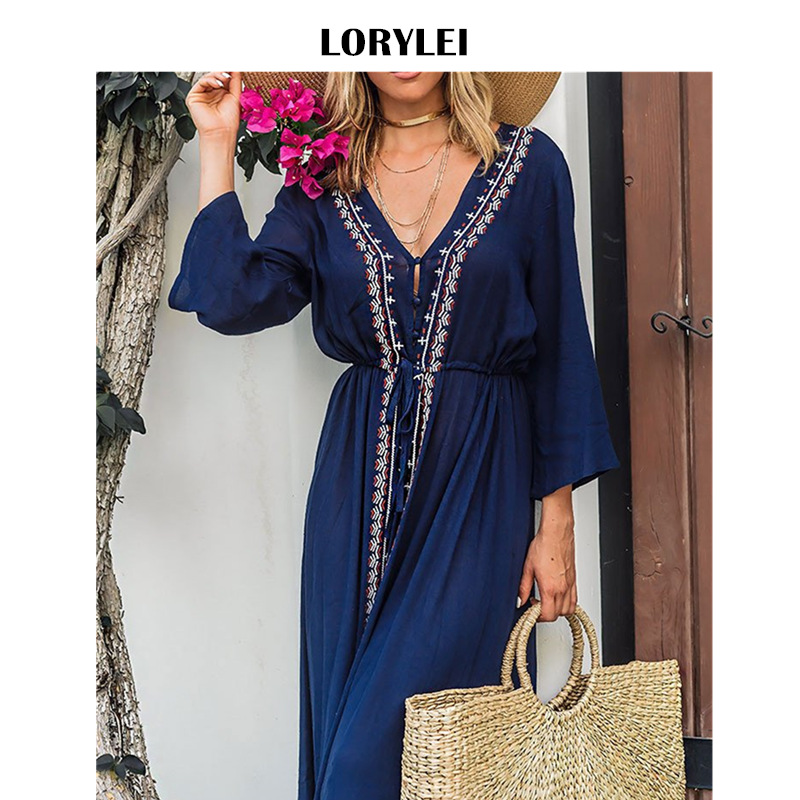 07cbbedbe7 N529 Plus Size Swimsuit Elegant Blue Long Cotton Women Summer Beach Tunic  Dress