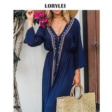 Elegant Blue Long Cotton Women Summer Beach Tunic Dress Plus Size Swimsuit Cover Up Pareo Kaftan Femme Plage Swim Coverup N529