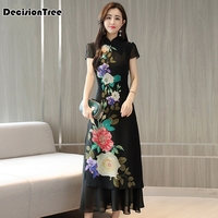 2019 new classic style cheongsam dress short sleeve antique black cheongsam women flower printing vietnam long aodai dress