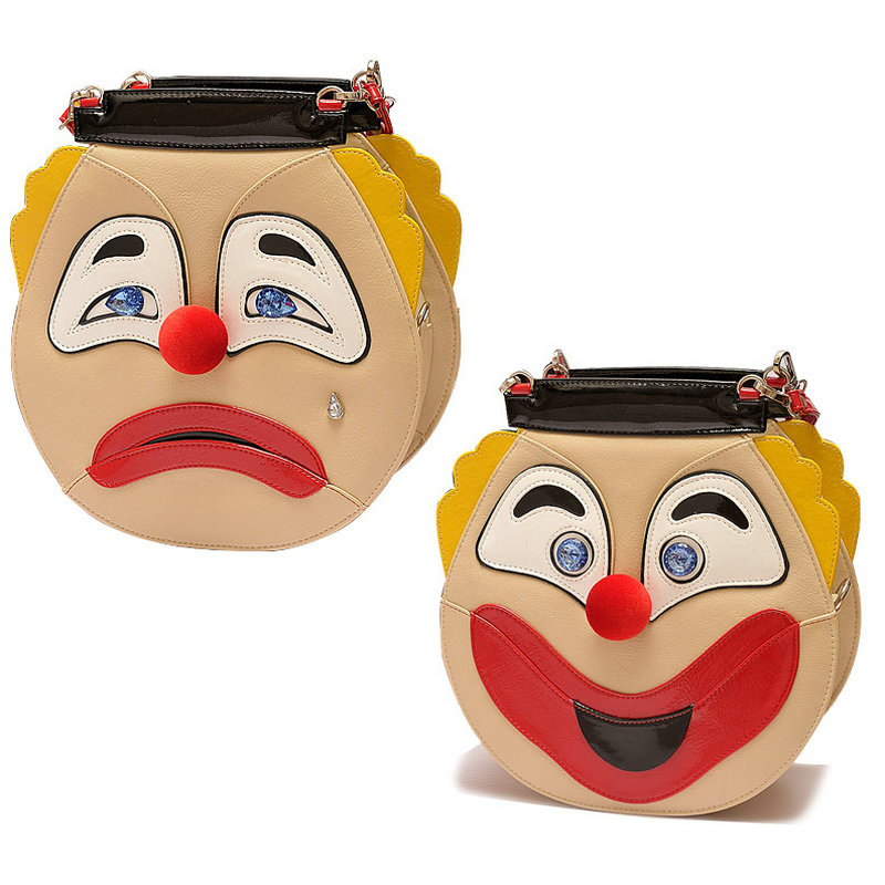 ФОТО Fun clown face two sides handbag personalized smile and cry impression women's cross body bag ladies personalized shoulder bags