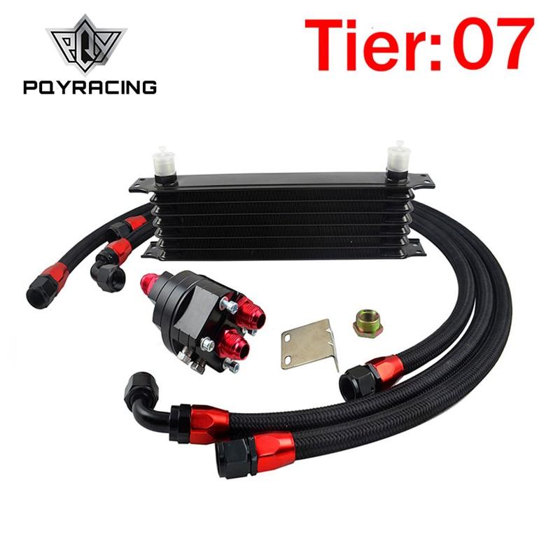 PQY - Universal 7 Row 10AN OIL COOLER Aluminum Engine Transmission Oil Cooler Relocation Kit топливоснабжение no logo 7 10an auto