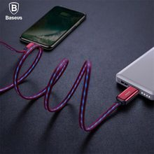 Baseus Flat Flowing LED Glow USB Cable For iPhone XS Max XR Wire 2.4A Fast Charging Charger Data Cord For iPhone X 8 7 6 6S Plus