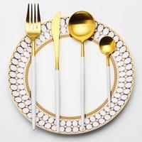 Lekoch 4 قطعة/المجموعة ملاعق شوك سكاكين المائدة المقاوم للصدأ والسكاكين مجموعة الذهب الأبيض مجموعة الغذاء الصف ل مائدة العشاء