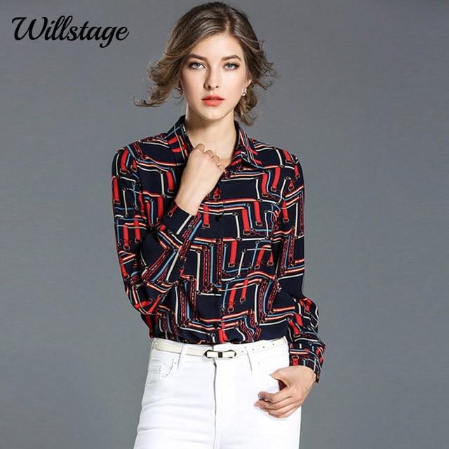 afcbeaadf98 Willstage Colorful Shirt Women Long Sleeve Button Vintage Blouse Pattern  Printed Tops New 2018 Spring Office ladies OL Work wear
