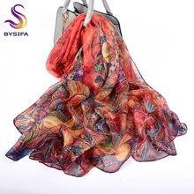 [Bysifa] luxo lenço de seda praia verão xale feminino outono inverno phoenix flor design longo cachecóis 100% lenço de seda 180*110cm