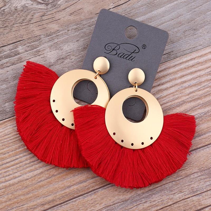 Badu الأحمر الشرابة أقراط النساء البوهيمي الكبير الذهب الثقيل استرخى القرط مروحة شكل الأزياء والمجوهرات 7 ألوان اليدوية البوهيمي