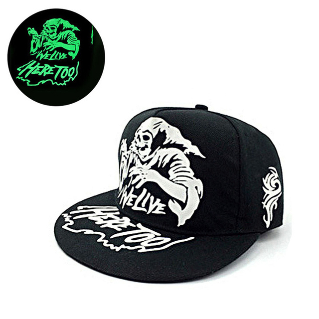 a5df4bc1b650e Resplandor verde oscuro Snapback gorras estrellas Hip Hop fluorescente gorra  de béisbol Casual luminosa gorras sombreros